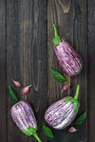 Purple eggplant, garlic and basil leaves from above on the old wooden board with free text space. Fresh harvest from the garden. T. Op view Royalty Free Stock Photo