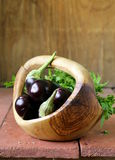 Purple eggplant  on a wooden table Stock Photo