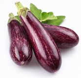 Purple eggplants with leaves Stock Photo