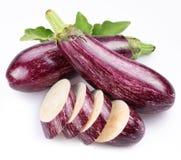 Purple eggplants with leaves Stock Image