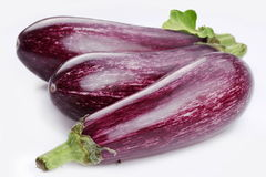 Purple eggplants with leaves Stock Images