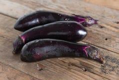 Purple eggplants on wooden background. Stock Image