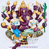 Purple eight hands ganesha with angels Stock Images