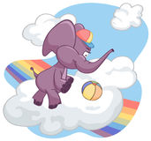 Purple elephant playing ball on the cloud. Purple elephant plays ball on the cloud. There is a rainbow in the sky Royalty Free Stock Image
