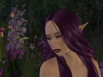 Purple Elf and flowers. Fantasy Art woman, Elf woman and flowers in purple tones in the woods Royalty Free Illustration
