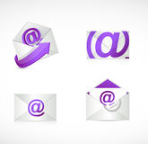 Purple email envelopes illustration design Royalty Free Stock Photos