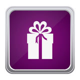 Purple emblem box with bow ribbon icon Royalty Free Stock Images
