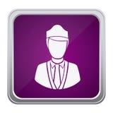 Purple emblem guard person icon. Illustraction design image Stock Images