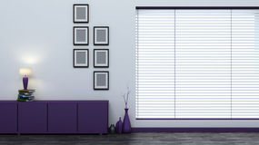 Purple empty interior with blinds Royalty Free Stock Photography