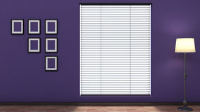 Purple empty interior with blinds Royalty Free Stock Photos