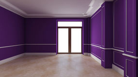 Purple empty interior with door Stock Photo