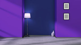 Purple empty interior with lamp and white frames on the wall Stock Images