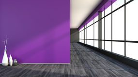 Purple empty interior with large window.  Royalty Free Stock Photo