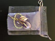 Purple en het wit van de orchideespeld Stock Afbeelding