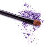 Purple eye shadow with brush Stock Photo
