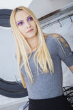 Purple Eyed Blonde Royalty Free Stock Photography