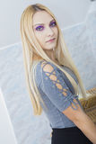 Purple Eyed Blonde Royalty Free Stock Photos