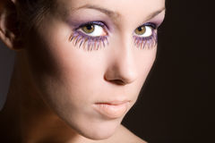 Purple eyelashes Royalty Free Stock Photos