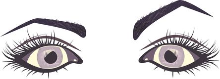 Purple eyes. Purple  womans eyes, isolated illustration Royalty Free Stock Photos
