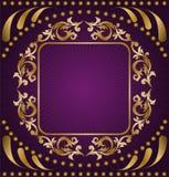 purple för bakgrundsguldprydnad Royaltyfri Foto