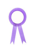 Purple fabric award ribbon isolated on white Royalty Free Stock Image