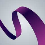 Purple fabric curved ribbon on grey background Stock Photos