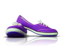 Purple fabric shoes on reflect floor Stock Image