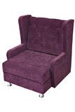 Purple fabric upholstered single seater armchair, isolated on wh Royalty Free Stock Photography
