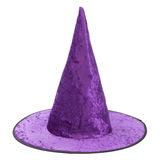 Purple fabric witch hat for Halloween. Purple velvet fabric witch hat for Halloween isolated on white background, with PS paths royalty free stock photos