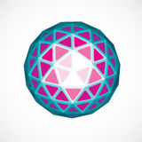 Purple faceted orb created from triangles, dimensional vector sp Stock Image