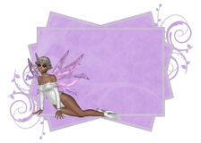 Purple Fae Tag. A lovely light purple tag with a lovely fae. This is wonderful for web or print use stock illustration