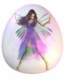 Purple Fairy in a Bubble. Pretty fairy with purple hair trapped inside a pink bubble, 3d digitally rendered illustration Stock Images