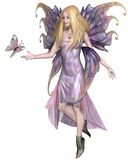 Purple Fairy with Butterfly Royalty Free Stock Images
