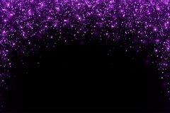 Purple falling particles arch shape on black background. Vector. Illustration Stock Photos