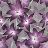 Purple fantasy lilly floral seamless pattern Stock Photo