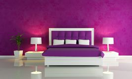 Purple fashion bedroom Stock Photography