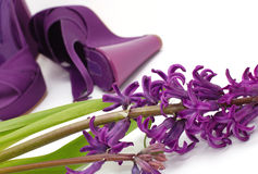 Purple Fashion Shoes And Flower Stock Photography