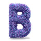 Purple faux fur LETTER B 3D illustration. Purple faux fur LETTER B 3D render illustration isolated on white background Royalty Free Stock Photography