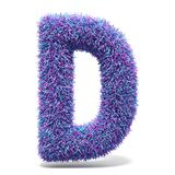 Purple faux fur LETTER D 3D illustration. Purple faux fur LETTER D 3D render illustration isolated on white background Royalty Free Stock Photography