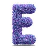 Purple faux fur LETTER E 3D illustration. Purple faux fur LETTER E 3D render illustration isolated on white background Royalty Free Stock Photo
