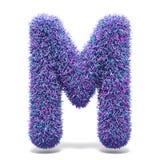 Purple faux fur LETTER M 3D illustration. Purple faux fur LETTER M 3D render illustration isolated on white background Royalty Free Stock Photos