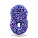 Purple faux fur number 8 EIGHT 3D. Render illustration isolated on white background Stock Photography