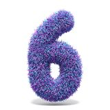 Purple faux fur number 6 SIX 3D. Render illustration isolated on white background Royalty Free Stock Image
