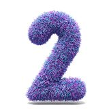 Purple faux fur number 2 TWO 3D. Render illustration isolated on white background Royalty Free Stock Photography
