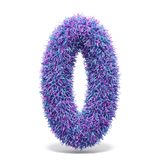 Purple faux fur number 0 ZERO 3D. Render illustration isolated on white background Royalty Free Stock Photography