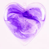 Purple feathers in plastic heart Royalty Free Stock Image