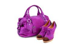 Purple female bag&shoes-1 Royalty Free Stock Photos