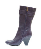 Purple female leather boot Royalty Free Stock Image