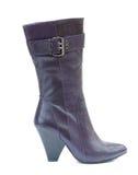 Purple female leather boot stock photo