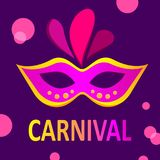 Purple carnival background with colour mask. Purple festive carnival background with bright colour mask. Vector illustration Stock Image